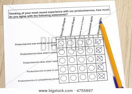 Erhebung über ein Produktservice