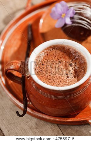 hot chocolate with chocolate ball