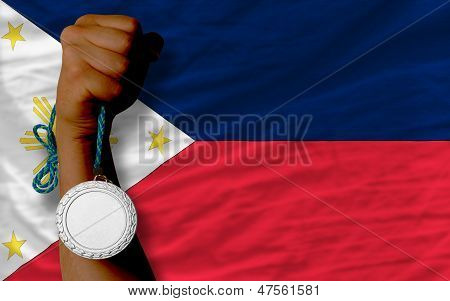 Silver Medal For Sport And  National Flag Of Philippines