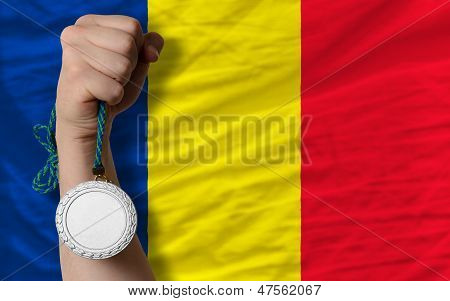 Silver Medal For Sport And  National Flag Of Romania