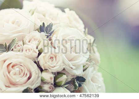 Beautiful wedding bouquet with soft focus