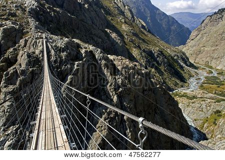Trift Suspension Footbridge Windegg, Europe's Highest Situated Rope Suspension Bridge, The Alps, Swi