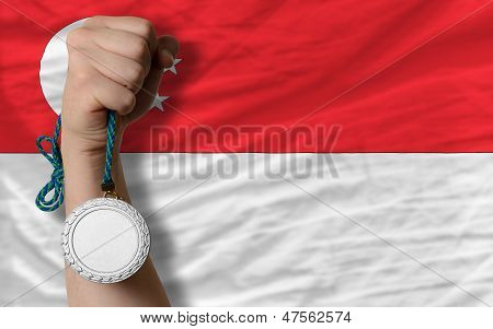 Silver Medal For Sport And  National Flag Of Singapore