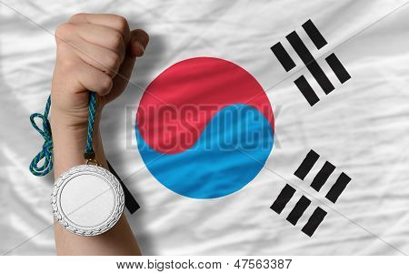 Silver Medal For Sport And  National Flag Of South Korea