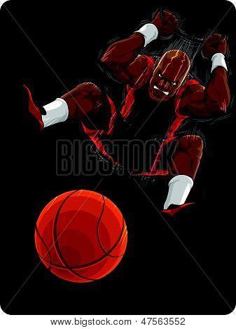 Basketball Player Doing Slam Dunk