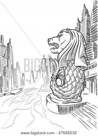 Sketch of Singapore Tourism Landmark - Merlion