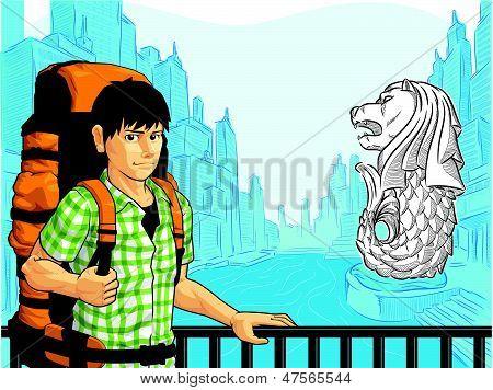 Tourist Enjoying The View of Singapore Landmark - Merlion