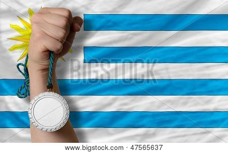Silver Medal For Sport And  National Flag Of Uruguay