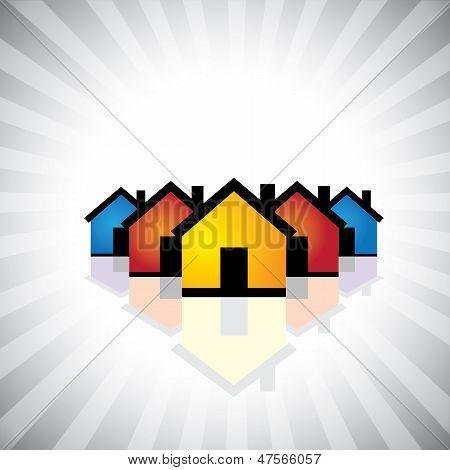 Kleurrijke Houses(homes) of onroerend goed Icon(symbol)-Vector afbeelding