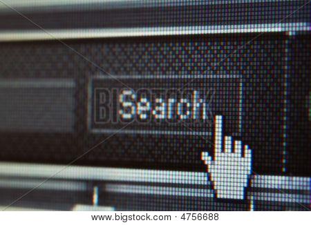 Extreme Closeup Of Mouse Cursor Over Search Button