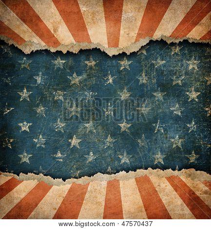 Grunge arrancado el patrón de papel USA bandera