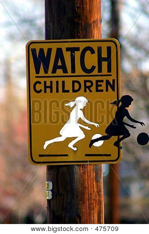 Girl Walking Off Watch Children Sign