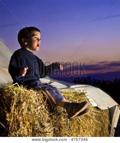 Boy im Stroh