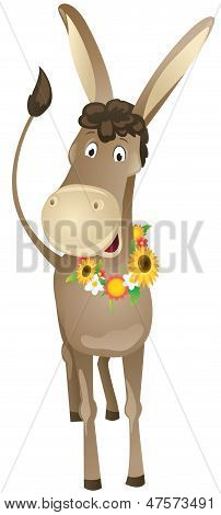 Cartoon Donkey With Wreath