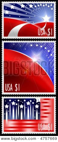 Three Usa Stamps With Abstract American Flag Design