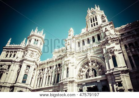 Palace Of Communications At Plaza De Cibeles In The City Of Madrid, Spain.