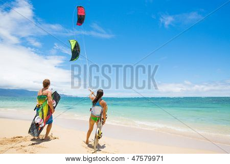 Kiteboarders on Beautiful Beach