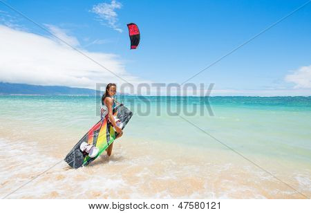 Kiteboarder on Beautiful Beach