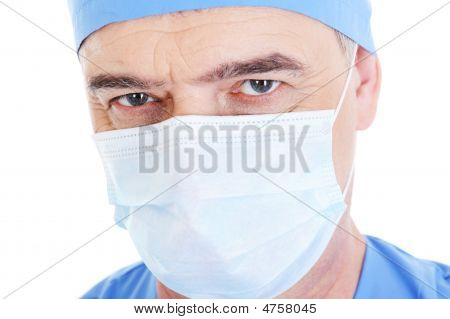 Look Mature Male Surgeon In Medical Mask