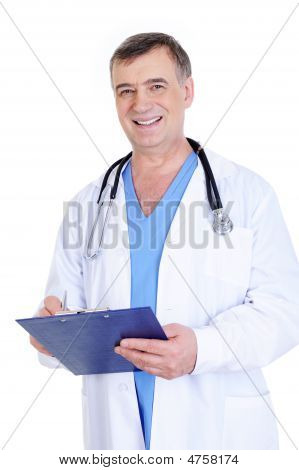 Cheerful Laughing Mature Man Doctor