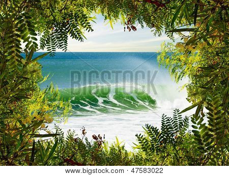 Idyllic landscape of a perfect surfing wave framed with green vegetation