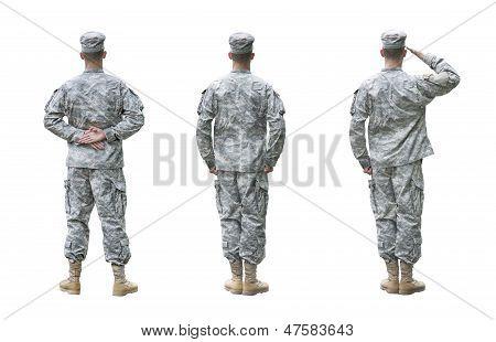 Nos soldado do exército em três posições isoladas no fundo branco