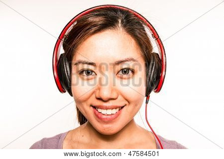 young asian woman with headphones