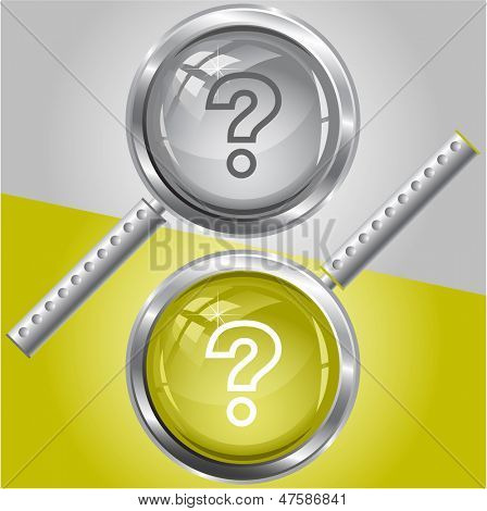 Query. Vector magnifying glass.