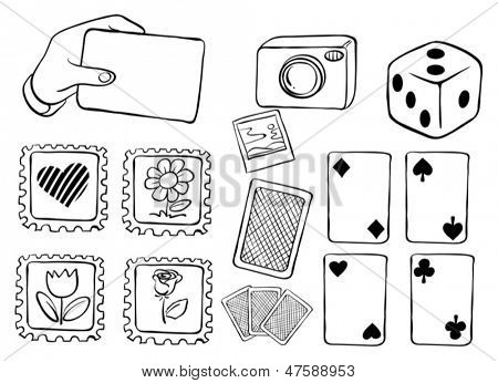 Illustration of the different cards in doodle design on a white background