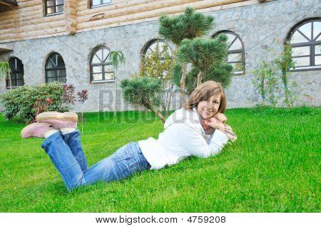 Girl Lie On Grass