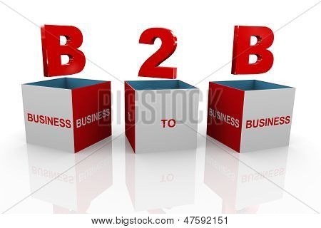 3D Box Of B2B - Business To Business