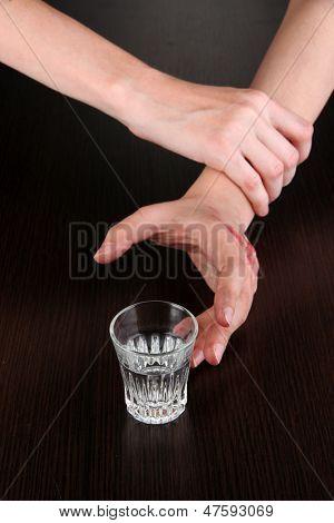 Problem of alcoholism close-up
