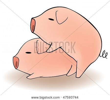 Two Cartoon Pigs Having Sex