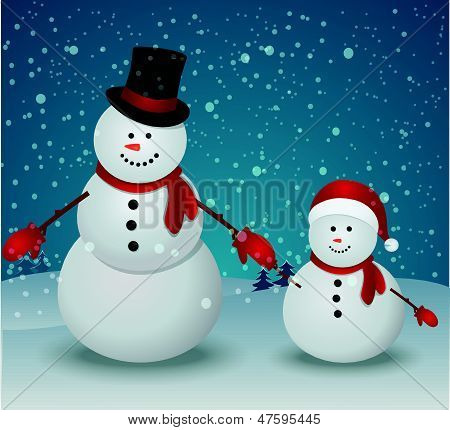 snowman family in Christmas winter scene with gift box