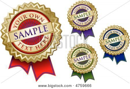 Set Of Four Colorful Emblem Seals With Ribbons