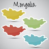 image of bator  - shiny vector  stickers in form of Mongolia - JPG