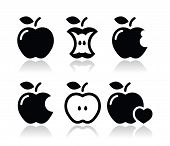 stock photo of love bite  - Black icons set of apples isolated on white - JPG