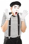 foto of mime  - Male mime artist gesturing with his hands excitement - JPG