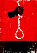 image of hangmans noose  - Red and black poster with hand and gallows - JPG