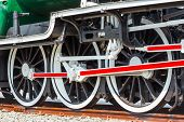 stock photo of train-wheel  - Antique style old train on rusty railway - JPG