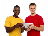 Technology Savvy Friends Using Tablet Pc poster