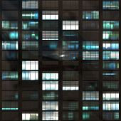 picture of voyeur  - Voyeuring Office Building After Dark In Blue Tones - JPG
