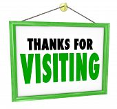 stock photo of appreciation  - Thanks For Visiting hanging sign for a store to thank - JPG