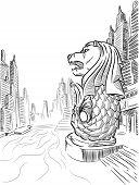 Sketch of Singapore Tourism Landmark - Merlion poster