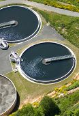 picture of wastewater  - Areial view of wastewater purification works bassins in France - JPG