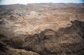 image of masada  - View to the Jdean desert from Masada fortress Israel - JPG