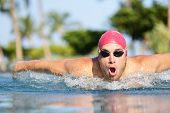 pic of watersports  - Swimmer man swimming butterfly strokes in pool outdoors in summer - JPG