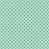picture of mint-green  - Seamless vector pattern with dark green polka dots on a retro vintage mint green background - JPG