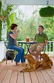 image of iced-tea  - A couple with their dogs enjoying a glass of ice tea on their porch - JPG