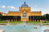 picture of fountain grass  - Art pavillion with fountain in Zagreb - JPG